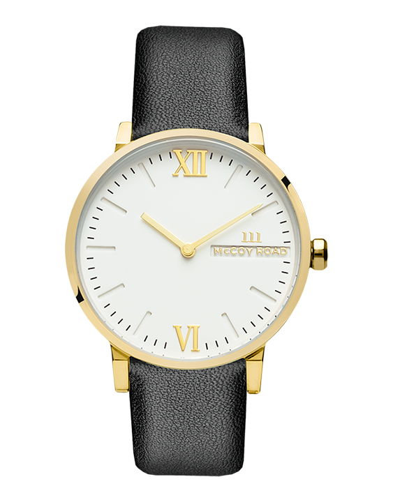 Black leather band and gold bezel affordable women's watch