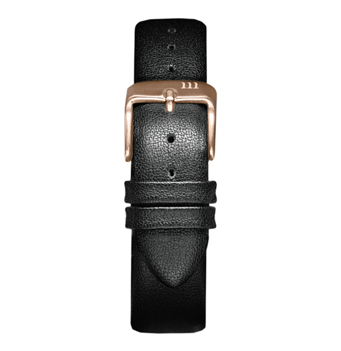 McCoy Road Black Leather Watch Band With Rose Gold Clasp