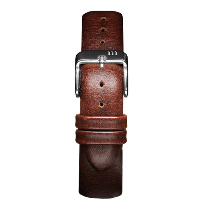 McCoy Road Dark Brown Leather Watch Band With Silver Clasp