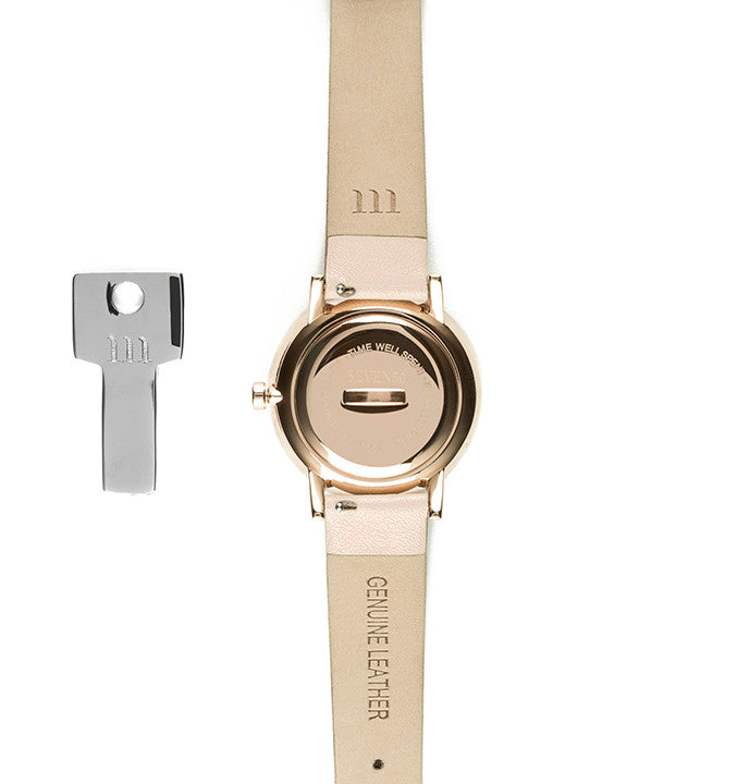 Seven50 Rose Gold and White McCoy Road Women's Watch With Nude Band Back