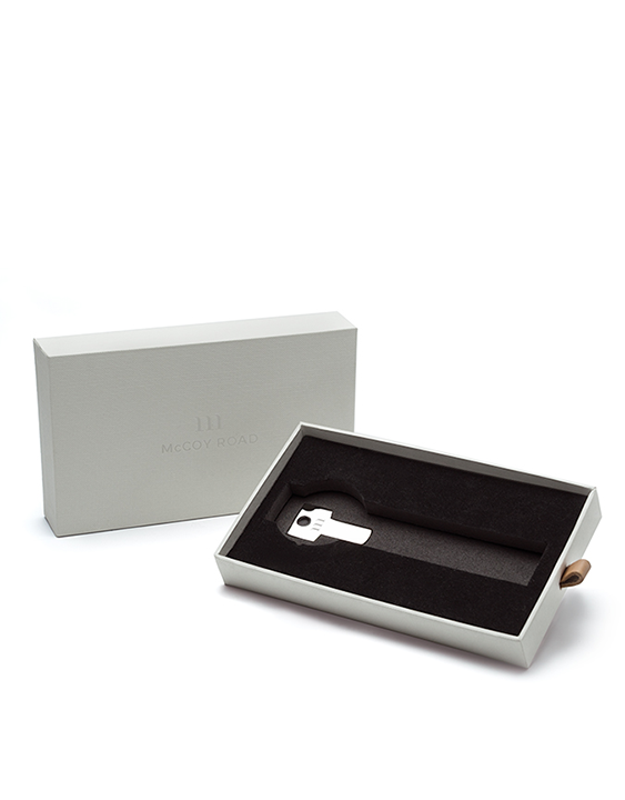 McCoy Road Watch Packaging With Key and Leather Pull packaging