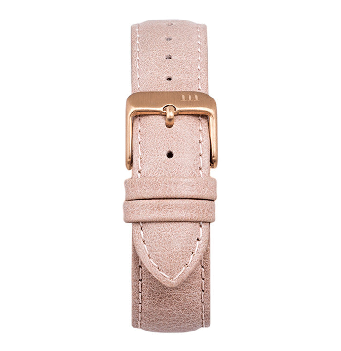 McCoy Road pink leather watch band with rose gold clasp