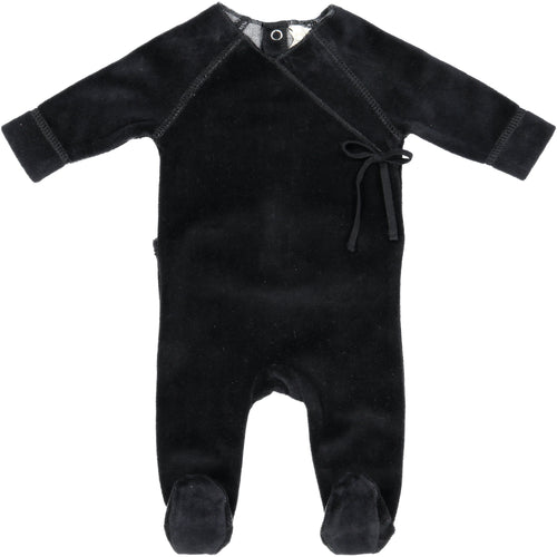 Black Velour Wrap Footie By Analogie