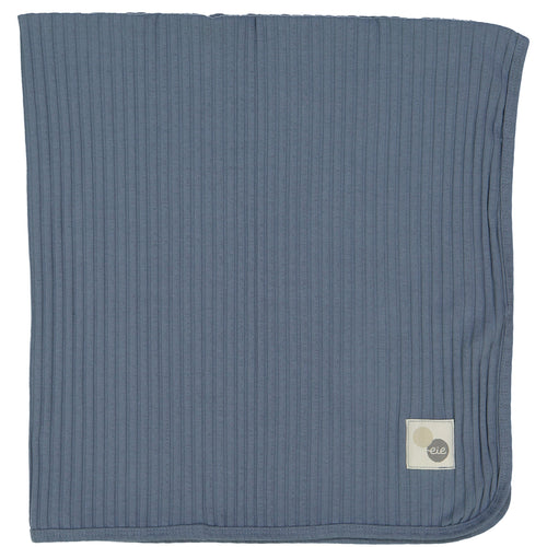 Blue Wide Ribbed Blanket By Analogie