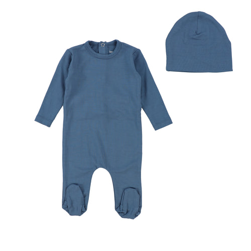 Denim Modal Footie with Beanie