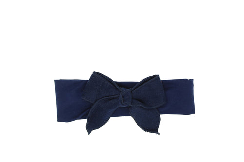 Navy Wool Bow Baby Band