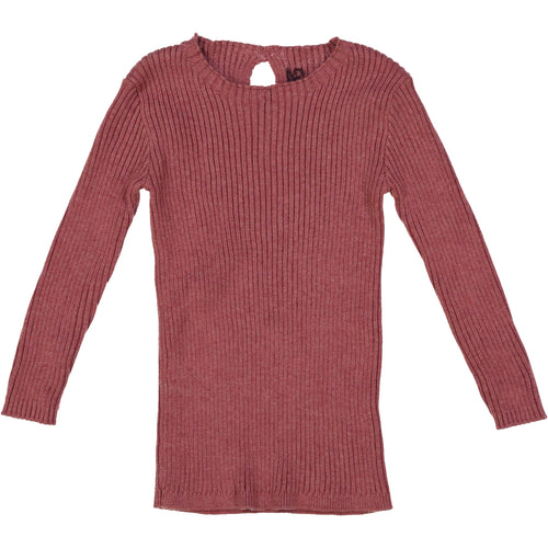 Mauve Ribbed Knit Sweater By Analogie