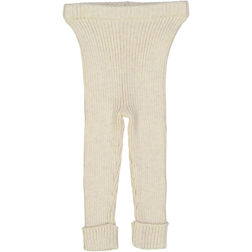 Vintage Ecru Ribbed Knit Leggings By Analogie