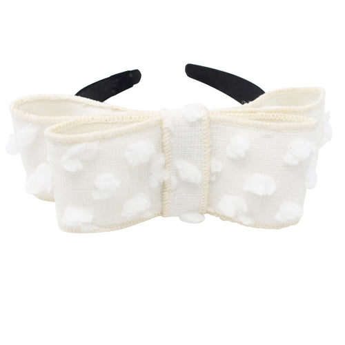 Winter White Dotted Wool Bow Headband