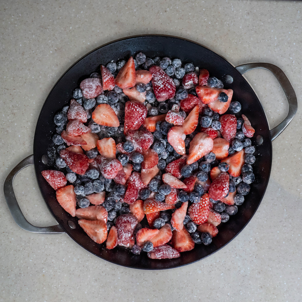 prepped fruit in an icon griddle