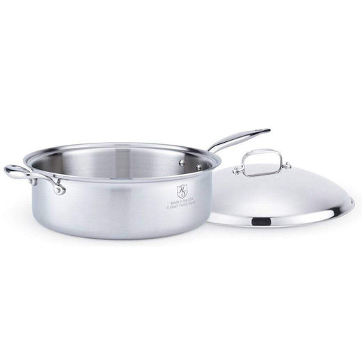 American Clad Cookware Saute & Sauteuse Pans 8 Qt. American Clad 7-ply Stainless Sauté Pan with Lid JL-Hufford