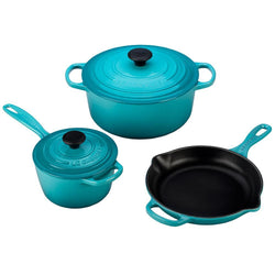 Le+Creuset+Cookware+Sets+Caribbean+Le+Creuset+5-Piece+Signature+Enameled+Cast+Iron+Set+JL-Hufford