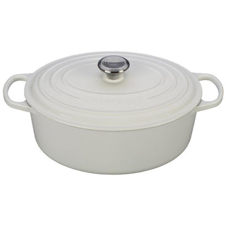 Le Creuset Dutch Ovens and Braisers White Le Creuset 6.75 Qt. Enameled Cast Iron Signature Oval Dutch Oven JL-Hufford