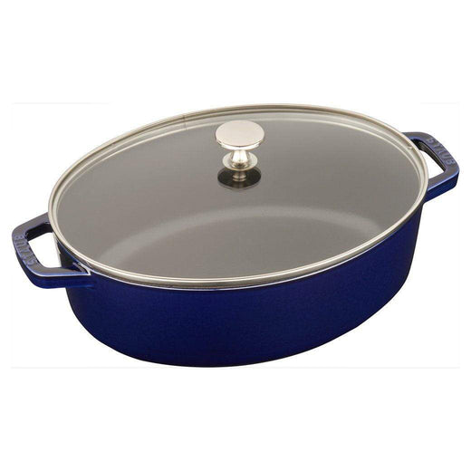 Staub Dutch Ovens and Braisers Dark Blue Staub Cast Iron 4.25-qt Shallow Wide Oval Cocotte with Glass Lid JL-Hufford