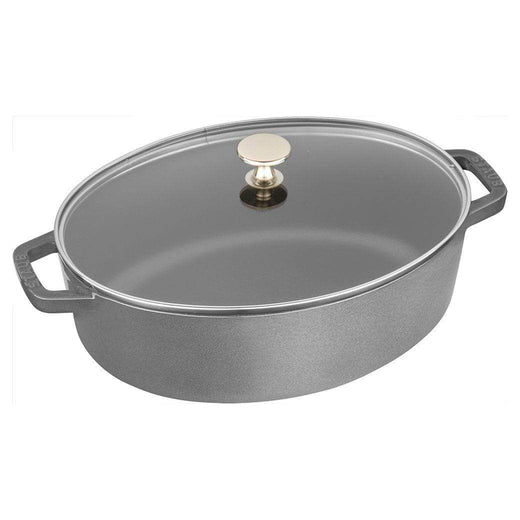 Staub Dutch Ovens and Braisers Graphite Grey Staub Cast Iron 4.25-qt Shallow Wide Oval Cocotte with Glass Lid JL-Hufford