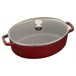 Staub Dutch Ovens and Braisers Grenadine Staub Cast Iron 4.25-qt Shallow Wide Oval Cocotte with Glass Lid JL-Hufford