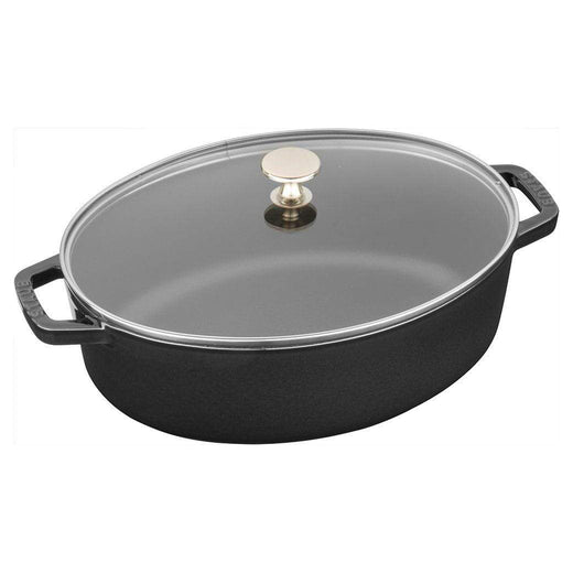 Staub Dutch Ovens and Braisers Matte Black Staub Cast Iron 4.25-qt Shallow Wide Oval Cocotte with Glass Lid JL-Hufford