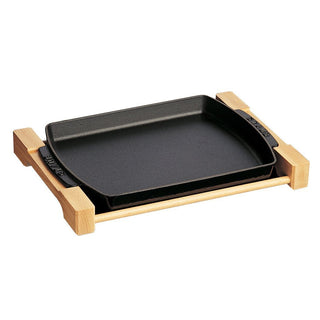 "Staub Cooking and Serving Utensils Staub Cast Iron 15"" x 9"" Rectangular Serving Dish with Wood Base - Matte Black JL-Hufford"