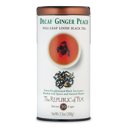 The Republic of Tea Gourmet Teas The Republic of Tea Ginger Peach Decaf Full-Leaf Loose Tin JL-Hufford