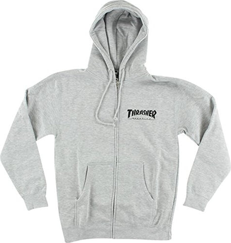 THRASHER ZIP-UP HOODIE GREY