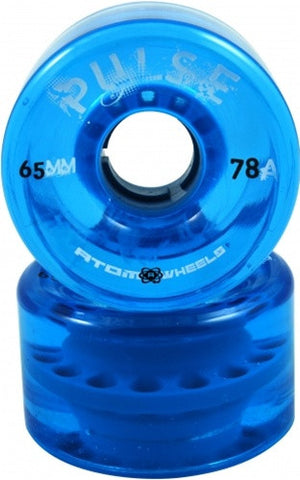 ATOM PULSE BLUE DERBY SKATE WHEELS 65mm 78a