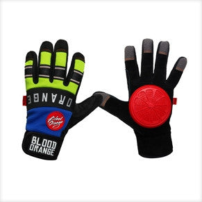 BLOOD ORANGE KNUCKLES BLUE NEON LONGBOARD SLIDE GLOVES