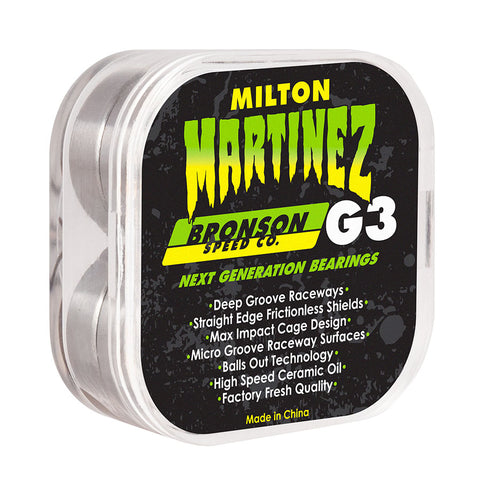 BRONSON SPEED CO. MILTON MARTINEZ PRO G3 SKATEBOARD BEARINGS