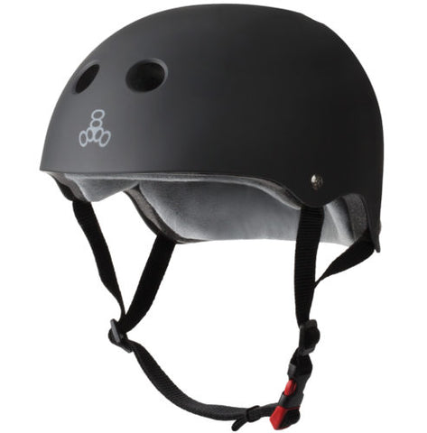 TRIPLE EIGHT CERTIFIED SWEATSAVER HELMET -  BLACK RUBBER
