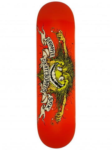 "GRIMPLE STIX TEAM COLLAB 8.28"" ORANGE SKATEBOARD DECK"