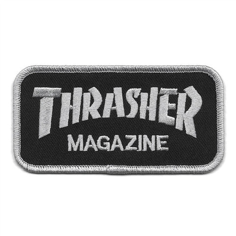 "THRASHER MAGAZINE BLACK PATCH - 4.0"" X 2.0"""