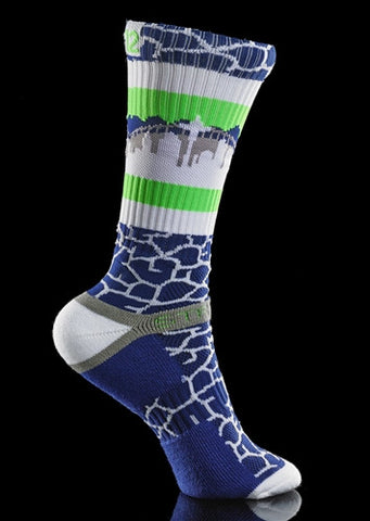 STRIDELINE SEATTLE QUAKE 12s CREW SOCKS