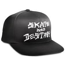 THRASHER SKATE AND DESTROY SNAPBACK HAT - BLACK
