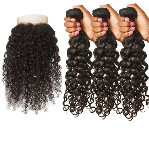 Curly Lace Closure + Curly Hair Bundles Set