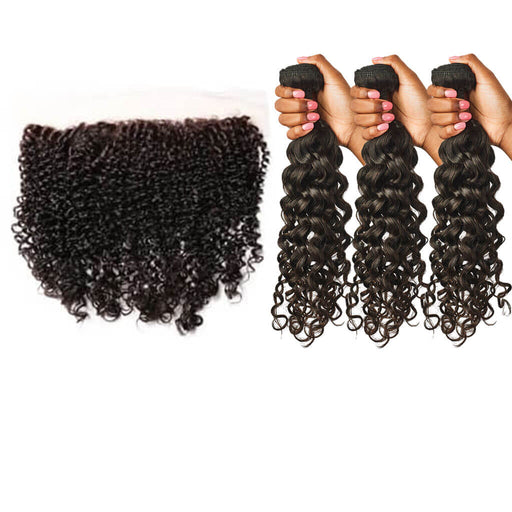 Curly Lace Frontal + Curly Hair Bundles Set