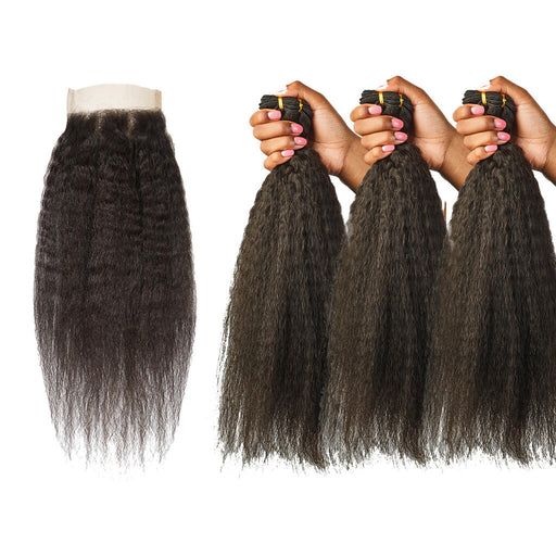 Kinky Straight Lace Closure + Kinky Straight Hair Bundles Set