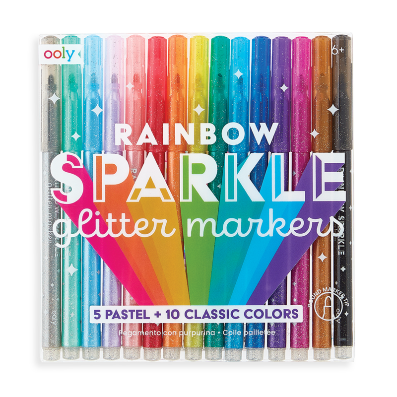 rainbow sparkle glitter markers - set of 15 - ooly