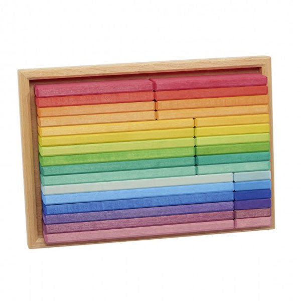 Rainbow Building Slats in Tray - 32pc