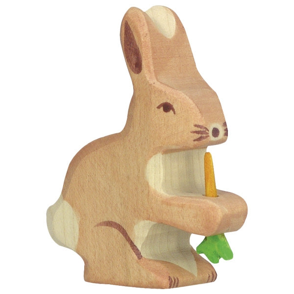 Holztiger - Wooden Animal - Hare, with carrot