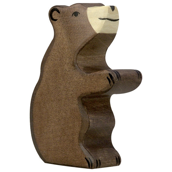 Holztiger - Wooden Animal - Brown Bear, Small, Sitting