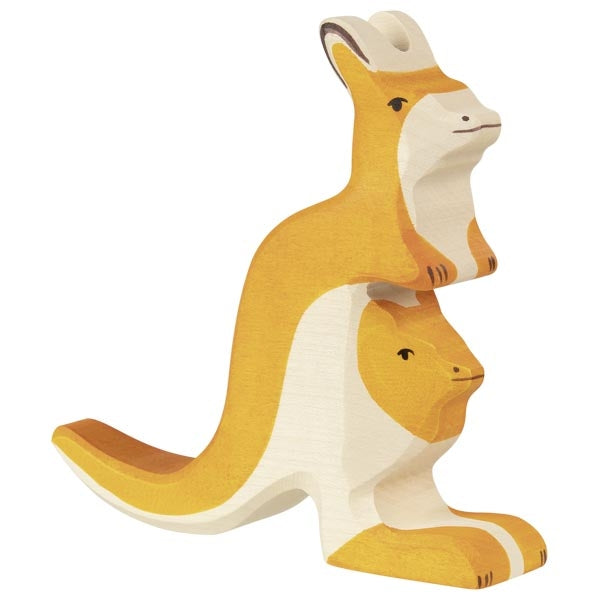 Holztiger - Wooden Animal - Kangaroo with young