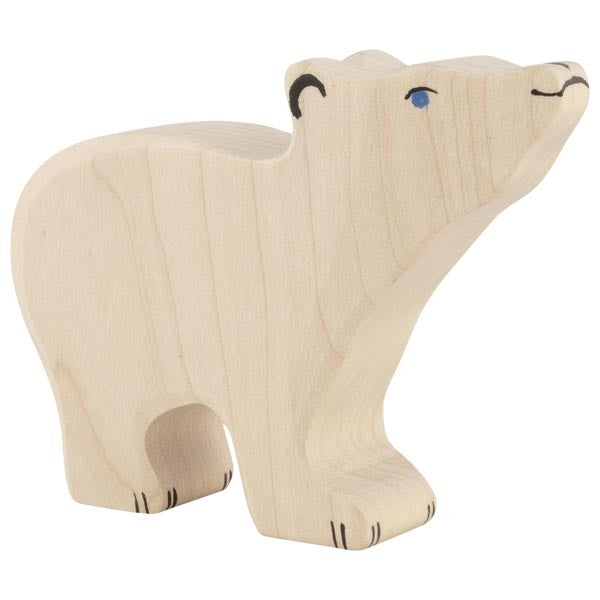 Holztiger - Wooden Animal - Polar bear, small, head raised