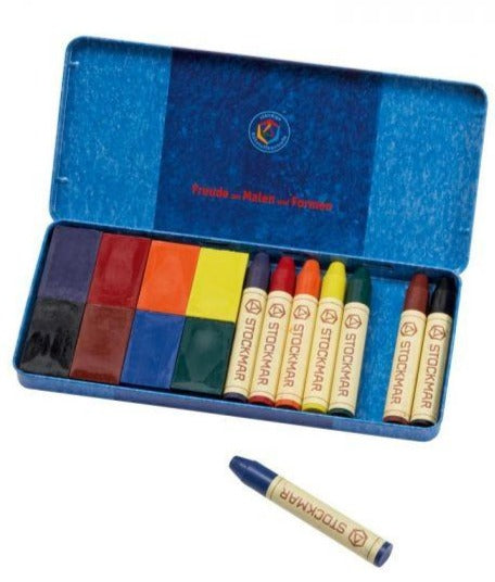 Stockmar - Wax Crayons Combo Standard Tin Case - 8 Blocks & 8 Sticks Assorted