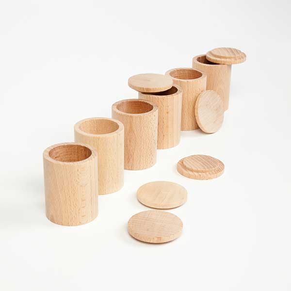 Grapat - Natural Wooden Sorting Cups with Lids