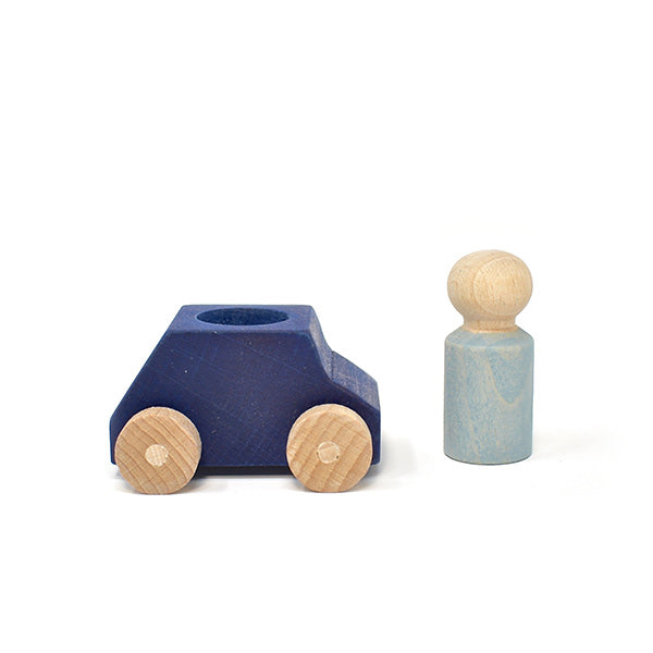Lubulona  - Blue wooden car with figure