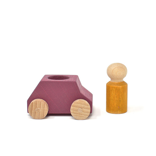 Lubulona  - Plum wooden car with figure