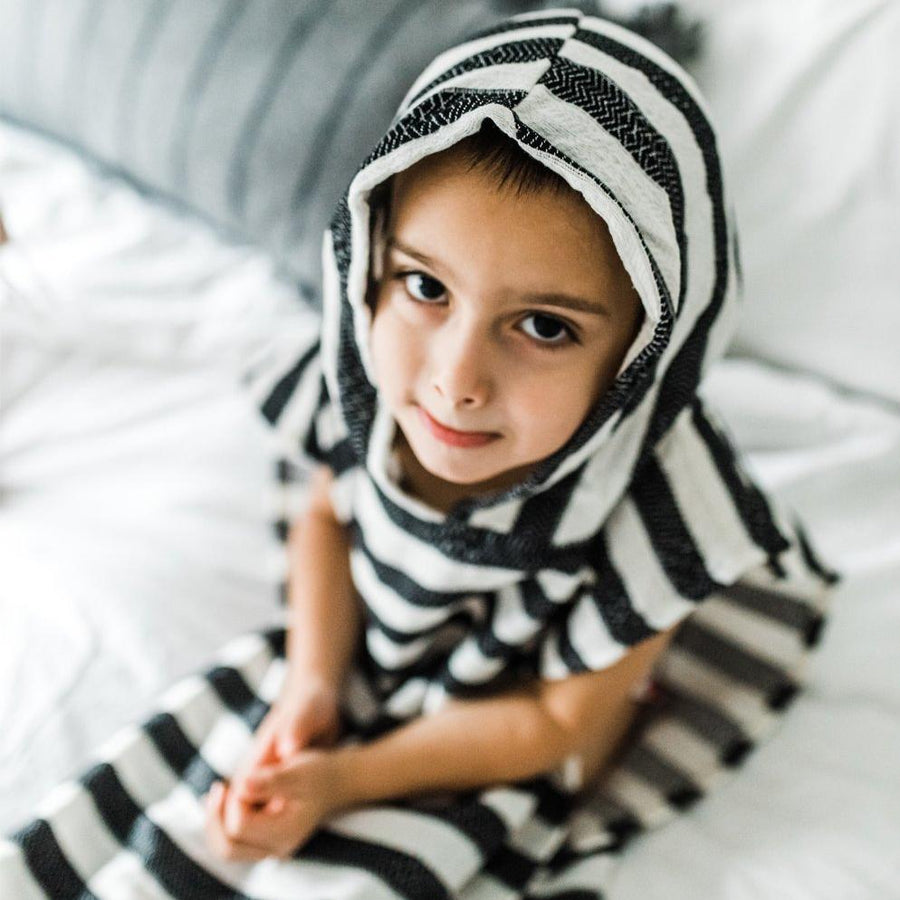Child Poncho Turkish Towel, Ebony