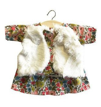 Paola Reina Baby Doll Liberty Dress& Faux Fur Vest - Minikane