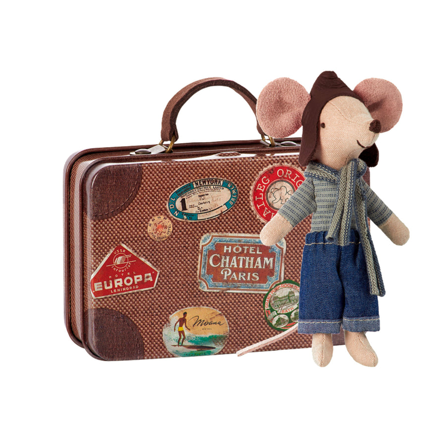 Maileg - Travel Racer Mouse, Big Brother in Suitcase
