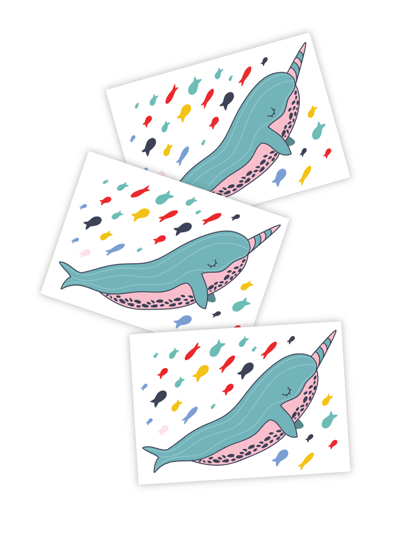 Narwhal Tattoo - Set of 3