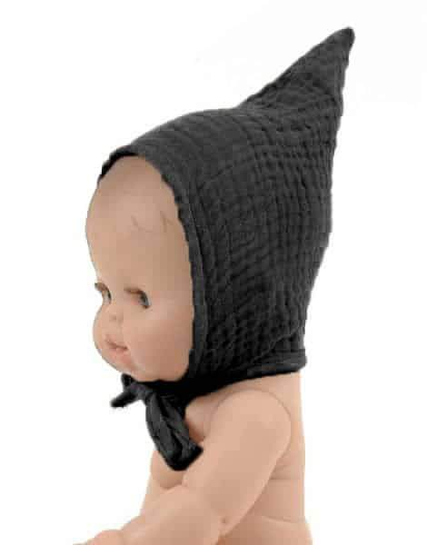 Cotton Pixie Bonnet, Black - Minikane